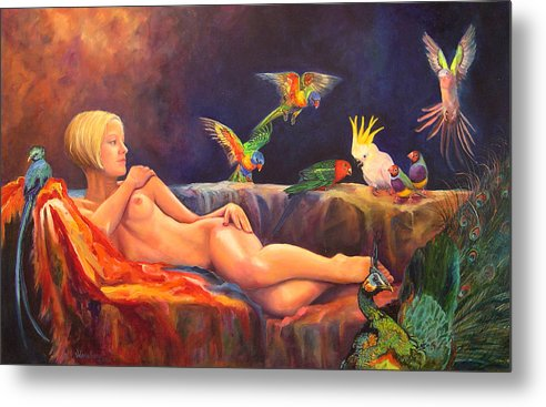 Nude Metal Print featuring the painting Pale By Comparison by Valerie Aune