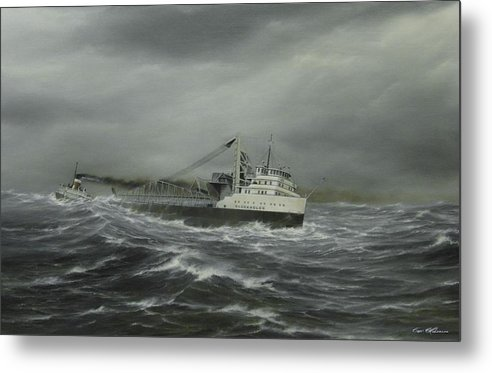 Marine Art. Gleneagles. Heavy Weather. Ships On Canvas. Capt. Bud Robinson. Lake Erie. Freighter Paintings. Great Lakes Ships. Canada Steamship Lines. Metal Print featuring the painting Heading For The Point by Captain Bud Robinson