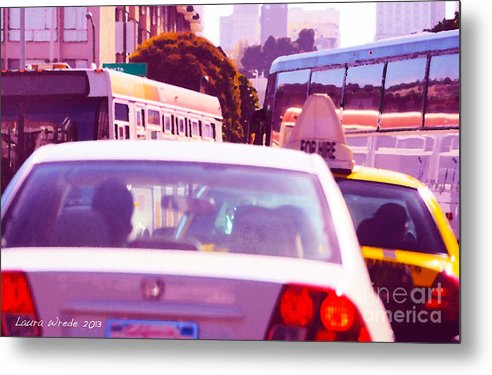 Fuchsia Metal Print featuring the painting San Francisco Traffic Jam by Artist and Photographer Laura Wrede