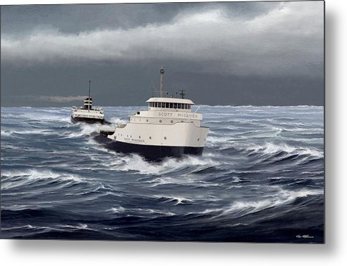 Scott Misener. Great Lakes Art. Freighter Art. Marine Art. Captain Bud Robinson. Metal Print featuring the painting Steamer Scott Misener by Captain Bud Robinson