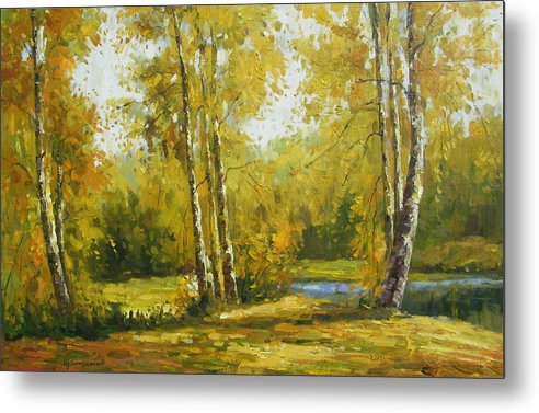 Landscape Metal Print featuring the painting Cariboo Gold by Imagine Art Works Studio