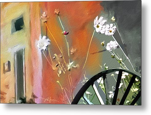 Floral Metal Print featuring the painting Kensington Market Floral Detail by Bob Salo