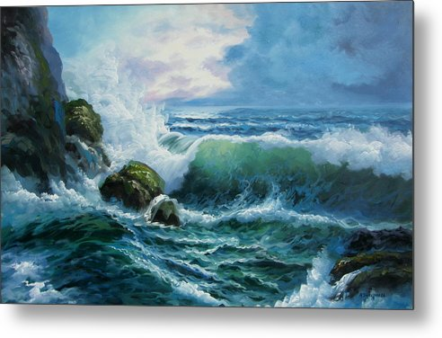 Seascape Metal Print featuring the painting Rocky Coast by Imagine Art Works Studio