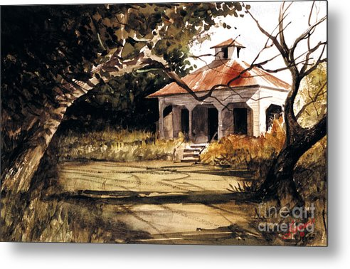Landscape Metal Print featuring the painting 8 Of Us Kids Lived Here by Charles Fennen