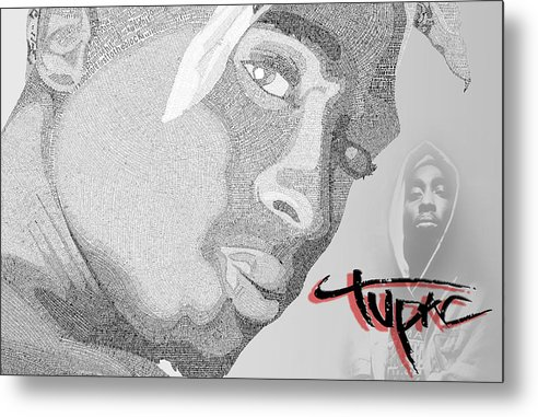 2pac Metal Print featuring the digital art 2pac Text Picture by Aaron Parrill