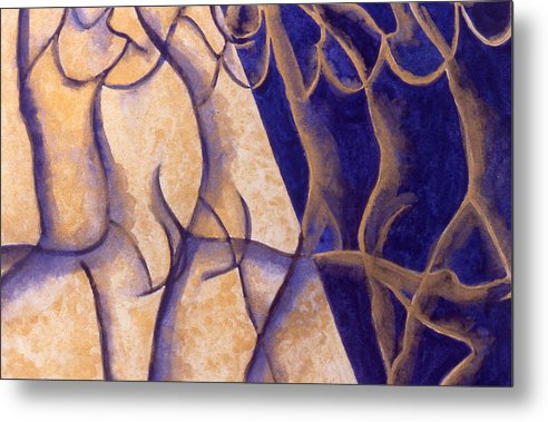 Watercolor Metal Print featuring the painting Dancers - Study 12 by Caron Sloan Zuger