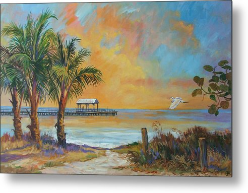 Beach Metal Print featuring the painting Sunset Flight by Dianna Willman