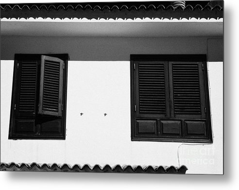 Europe Metal Print featuring the photograph black painted sun shutter blinds on windows of white washed house in tacoronte Tenerife Canary Islands Spain by Joe Fox