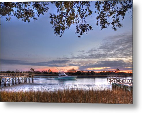 Oib Metal Print featuring the photograph Blue Boat Passing by Jackie Frick Smith
