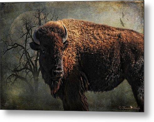 Buffalo Metal Print featuring the photograph Buffalo Moon by Karen Slagle