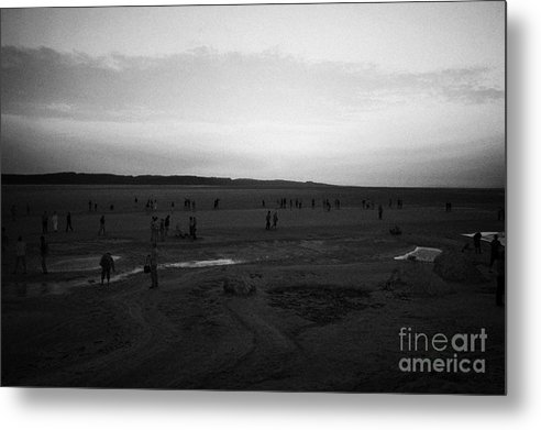 Tunisia Metal Print featuring the photograph Busloads Of Tourists Walking On The Salt Flats Awaiting Sunrise Chott El Djerid Tunisia by Joe Fox