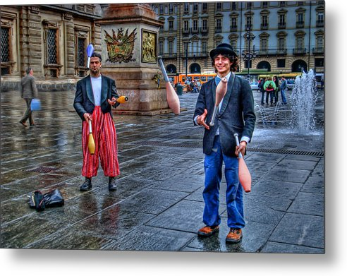 Jugglers Metal Print featuring the photograph City Jugglers by Ron Shoshani