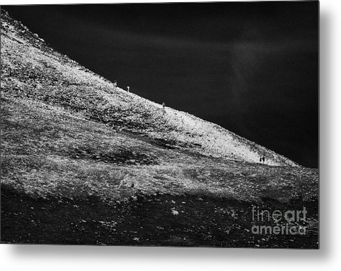 County Metal Print featuring the photograph climbers climbing ridge on Errigal mountain donegals highest peak against a blue sky between dunlewey and gweedore Donegal Republic of Ireland by Joe Fox