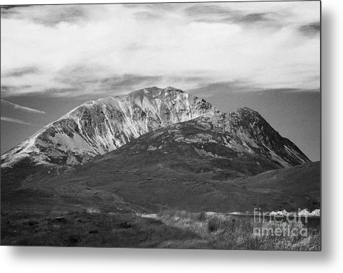 County Metal Print featuring the photograph Errigal Mountain Donegals Highest Peak Against A Blue Sky Between Dunlewey And Gweedore White Quartzite Conical Cone County Donegal Republic Of Ireland by Joe Fox