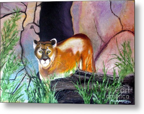 Big Cats Metal Print featuring the painting Guarding The Cave by Lora Duguay