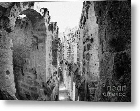 Tunisia Metal Print featuring the photograph Looking Down On Internal Walkways From Upper Tier Of Old Roman Colloseum El Jem Tunisia by Joe Fox