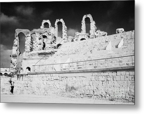 Tunisia Metal Print featuring the photograph Looking Up At Rear Remains And Layered Seating Area In The Main Arena Of The Old Roman Colloseum At El Jem Tunisia by Joe Fox