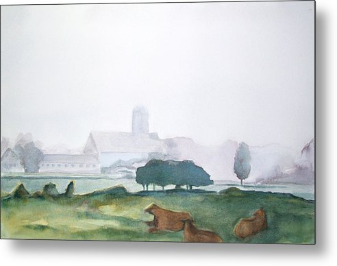 Maine Landscape Metal Print featuring the painting Maine Cathedral by Grace Keown