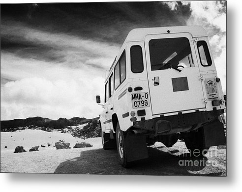 Europe Metal Print featuring the photograph Ministerio De Medio Ambiente Land Rover At Teide National Park Tenerife Canary Islands Spain by Joe Fox