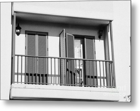 Europe Metal Print featuring the photograph modern pvc sun shutter blinds on balcony doors and windows of house in tacoronte Tenerife Canary Islands Spain by Joe Fox
