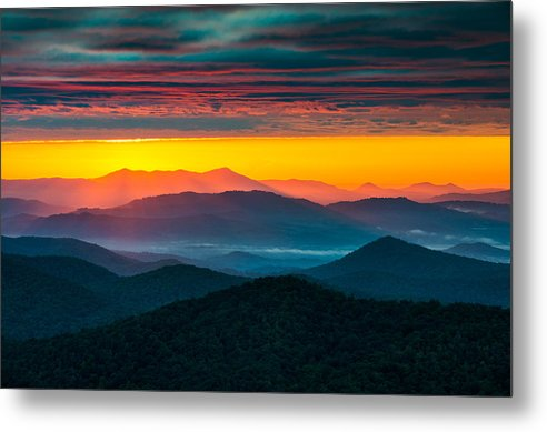 North Carolina Metal Print featuring the photograph North Carolina Blue Ridge Parkway Morning Majesty by Dave Allen