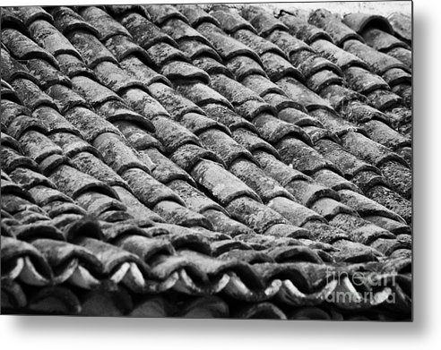 Europe Metal Print featuring the photograph old house roof tiled with traditional old spanish roof tiles Tenerife Canary Islands Spain by Joe Fox