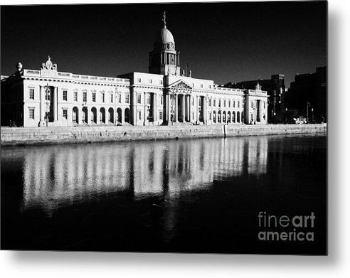 Dublin Metal Print featuring the photograph The Custom House Reflected In The River Liffey First Of Dublins Public Buildings Architect Was James Gandon by Joe Fox