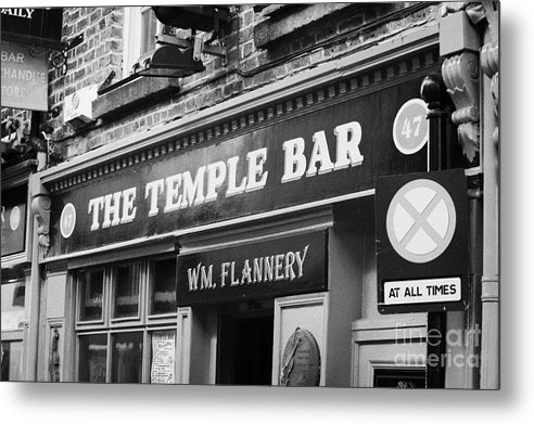 Dublin Metal Print featuring the photograph The Temple Bar Pub In Temple Bar Tourist Nightlife Area In Central Dublin by Joe Fox