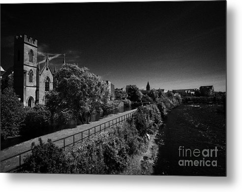 Galway Metal Print featuring the photograph view of the river corrib looking back towards the kings gap Galway city county Galway Republic of Ireland by Joe Fox