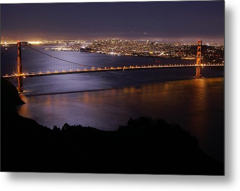 Golden Gate Metal Print featuring the photograph Golden Gate Bridge With Moonlit Reflections by Tim Atwater