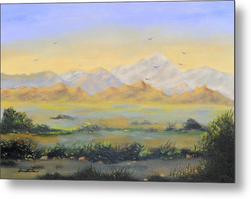 Landscape Metal Print featuring the painting Desert Sunrise by Annette Tan