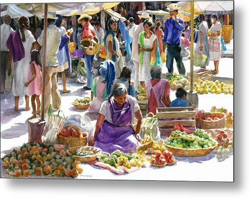 Figures Metal Print featuring the painting Saturday Market by Carolyn Epperly