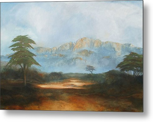 Landscape Metal Print featuring the painting African Riverbed by William Stanton