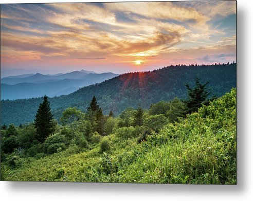 Blue Ridge Parkway Metal Print featuring the photograph Blue Ridge Parkway Nc Sunset - North Carolina Mountains Landscape by Dave Allen