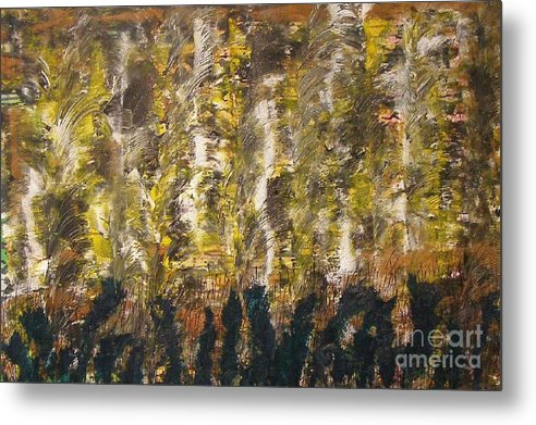 Abstract Metal Print featuring the painting Critters by Don Phillips