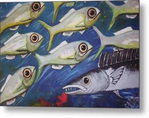Fish Ball Metal Print featuring the painting Fish Ball by Joan Stratton