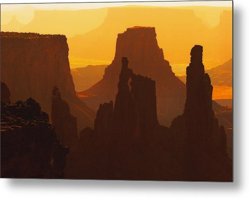 Desert Metal Print featuring the photograph Hazy Sunrise Over Canyonlands National Park Utah by Utah Images