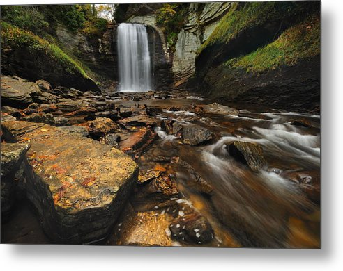 Nature Landscape Waterfall north Carolina Brevard looking Glass Falls Boulders Fall Autumn Stream Creek Cascade Rocks Metal Print featuring the photograph Looking Glass Falls by Jeff Burcher