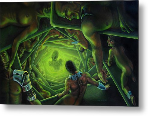 Sci-fi Metal Print featuring the painting One Terrible Night by Pat Lewis