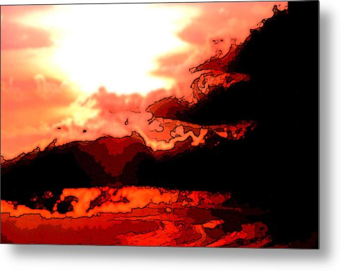 Sunset Metal Print featuring the digital art Orange Sunset by Kimberly Camacho