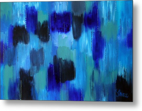 Abstract Paintings Metal Print featuring the painting Pearl Raindrops by Shiree Gilmore