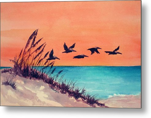 Seascape Metal Print featuring the painting Pelicans Flying Low by Suzanne Krueger