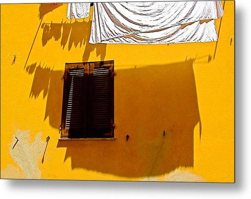 Alghero Metal Print featuring the photograph Shadow Yellow Wall by John Daly