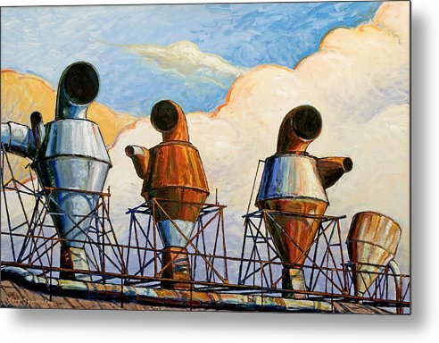 Landscape Metal Print featuring the painting Three Sentinels by Gary Symington