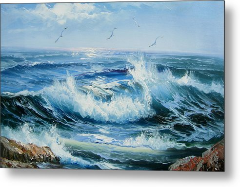 Seascape Metal Print featuring the painting Wave Goodbye by Imagine Art Works Studio