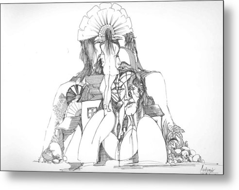 Surreal Metal Print featuring the drawing Women Heads And A Rock by Padamvir Singh