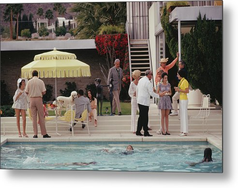 People Metal Print featuring the photograph Poolside Party by Slim Aarons