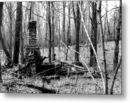Cabin Metal Print featuring the photograph 072606-32bw Once Upon A Time There Was A Cabin In A Forest.. by Mike Davis