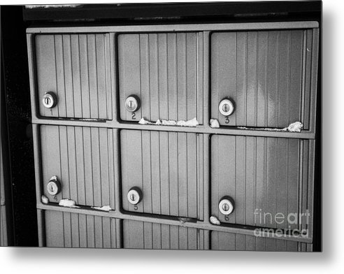 Canada Metal Print featuring the photograph canada post post mailboxes in rural small town Forget Saskatchewan Canada by Joe Fox