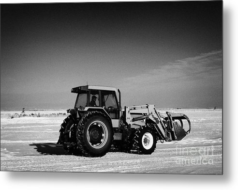 International Metal Print featuring the photograph international 5140 tractor with front end loader on frozen field Forget Saskatchewan Canada by Joe Fox